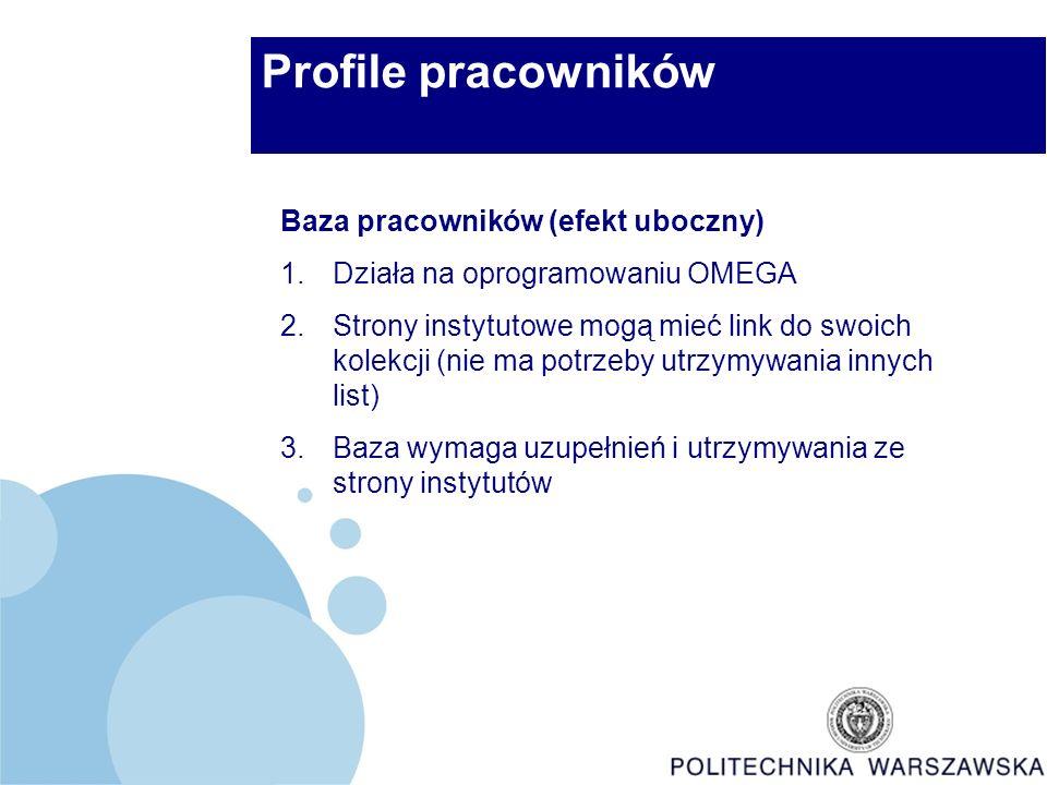 Profile pracowników Baza pracowników (efekt uboczny) 1.Działa na oprogramowaniu OMEGA 2.Strony instytutowe mogą mieć link do swoich kolekcji (nie ma potrzeby utrzymywania innych list) 3.Baza wymaga uzupełnień i utrzymywania ze strony instytutów