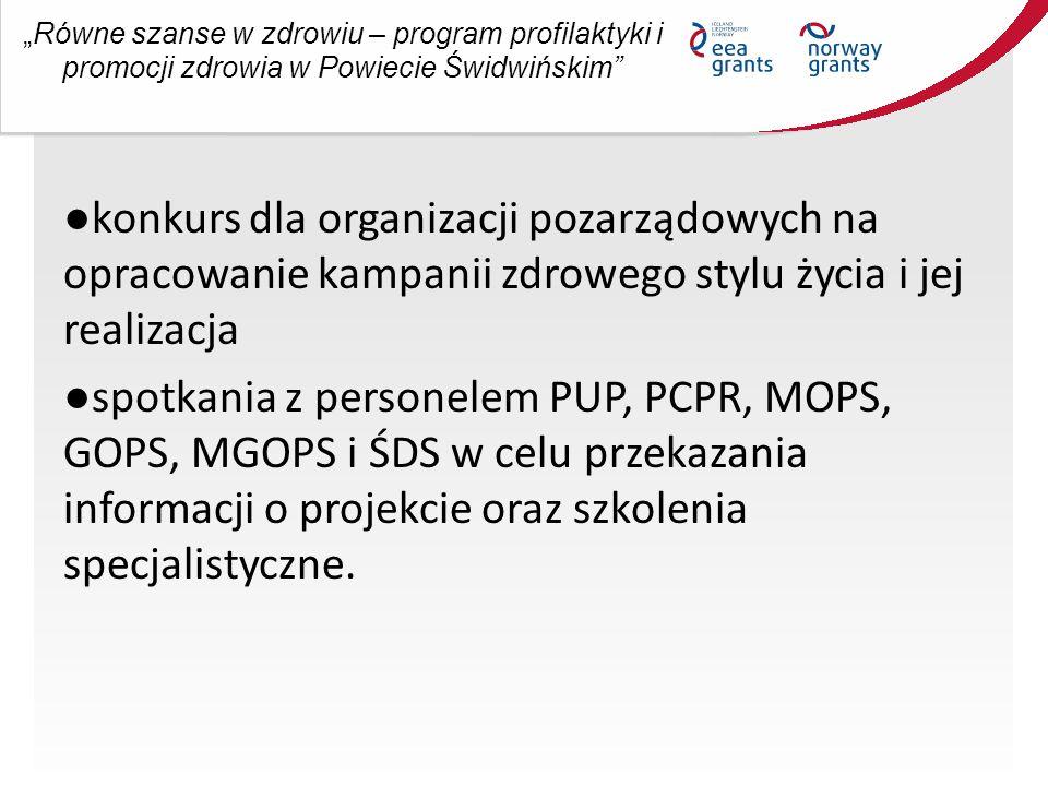 """""""Równe szanse w zdrowiu – program profilaktyki i promocji zdrowia w Powiecie Świdwińskim ●konkurs dla organizacji pozarządowych na opracowanie kampanii zdrowego stylu życia i jej realizacja ●spotkania z personelem PUP, PCPR, MOPS, GOPS, MGOPS i ŚDS w celu przekazania informacji o projekcie oraz szkolenia specjalistyczne."""