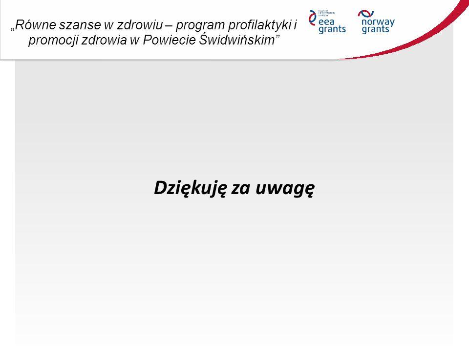 """""""Równe szanse w zdrowiu – program profilaktyki i promocji zdrowia w Powiecie Świdwińskim Dziękuję za uwagę"""