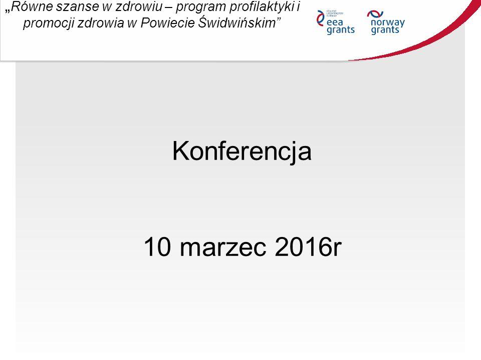 """""""Równe szanse w zdrowiu – program profilaktyki i promocji zdrowia w Powiecie Świdwińskim Beneficjent: Powiat Świdwiński Kwota dofinansowania: 3.281.241,50 zł Dofinansowanie: 100 % poniesionych kosztów kwalifikowalnych Finansowanie: ze środków Norweskiego Mechanizmu Finansowego 2009-2014 oraz budżetu państwa."""