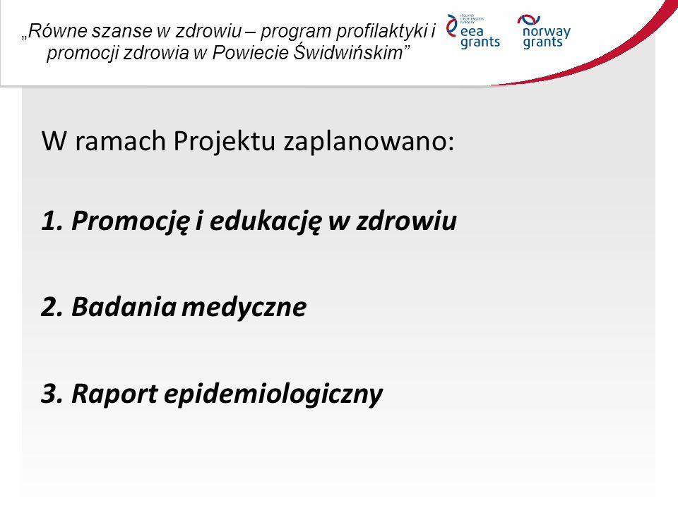 """""""Równe szanse w zdrowiu – program profilaktyki i promocji zdrowia w Powiecie Świdwińskim Promocja: ●plakaty i ulotki ●bilboardy – 15 szt ●gadżety promocyjne np."""