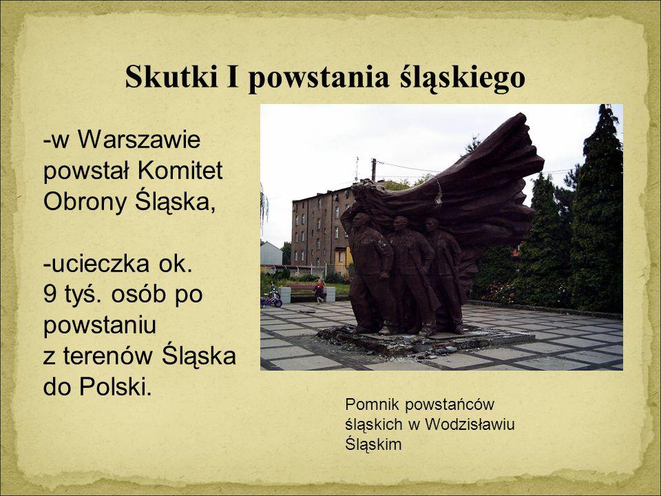 Skutki I powstania śląskiego -w Warszawie powstał Komitet Obrony Śląska, -ucieczka ok.