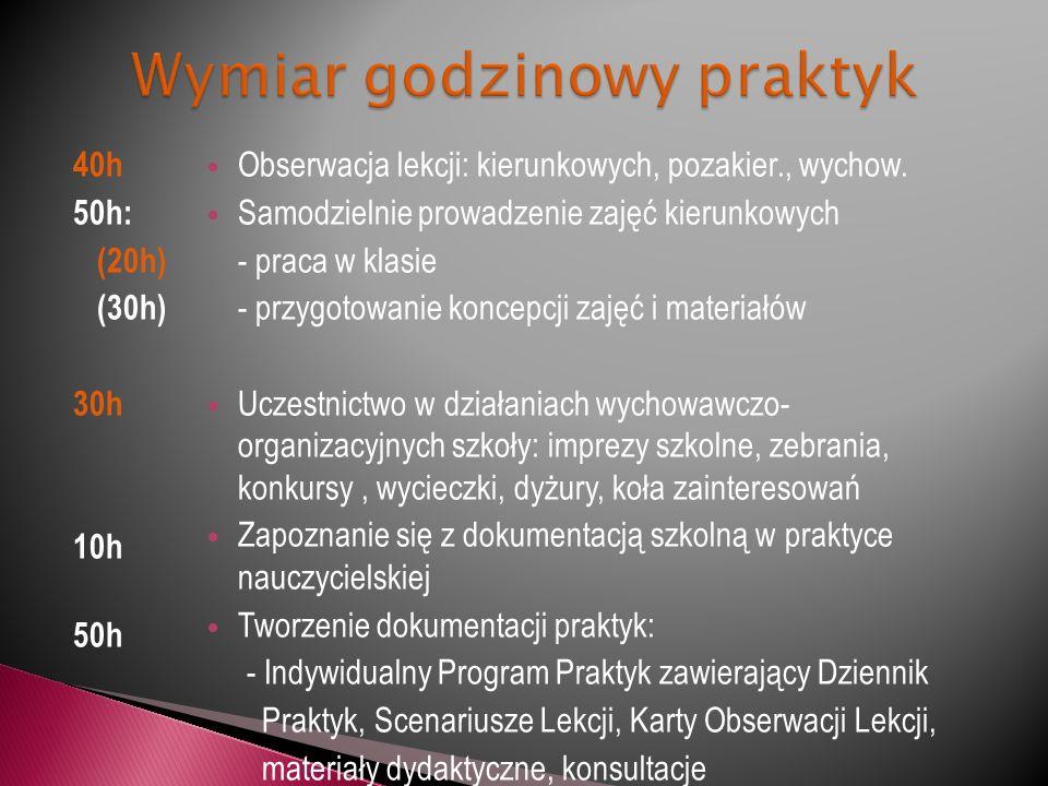 40h 50h: (20h) (30h) 30h 10h 50h Obserwacja lekcji: kierunkowych, pozakier., wychow.