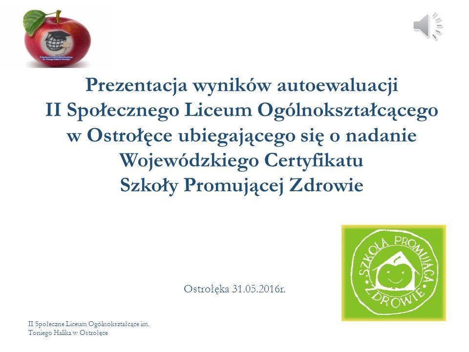 II Społeczne Liceum Ogólnokształcące im. Toniego Halika w Ostrołęce Prezentacja wyników autoewaluacji II Społecznego Liceum Ogólnokształcącego w Ostro