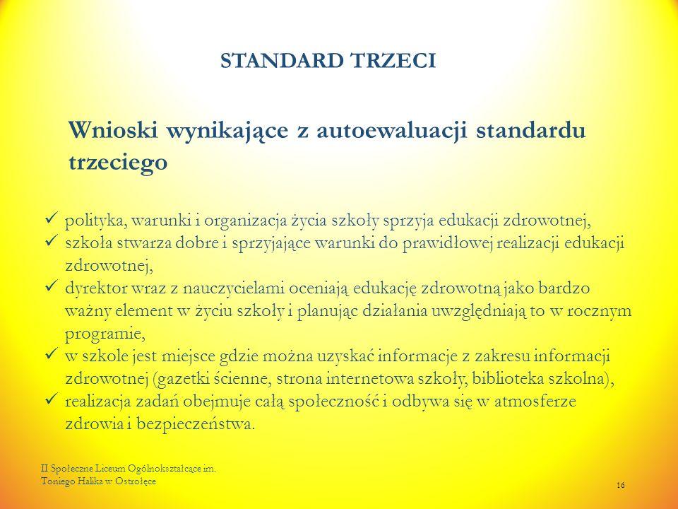 STANDARD TRZECI II Społeczne Liceum Ogólnokształcące im. Toniego Halika w Ostrołęce 16 Wnioski wynikające z autoewaluacji standardu trzeciego polityka