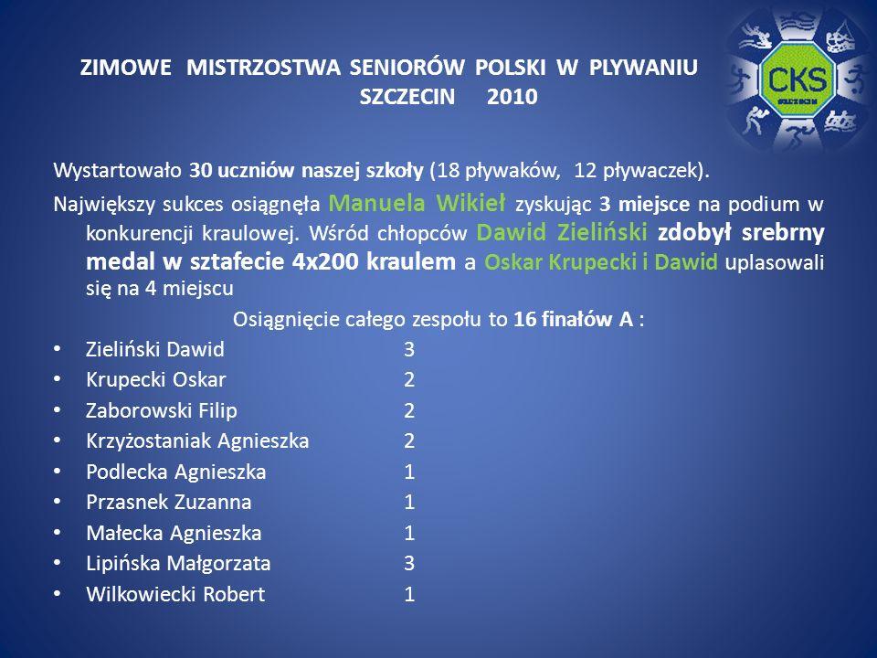 ZIMOWE MISTRZOSTWA SENIORÓW POLSKI W PLYWANIU SZCZECIN 2010 Wystartowało 30 uczniów naszej szkoły (18 pływaków, 12 pływaczek).