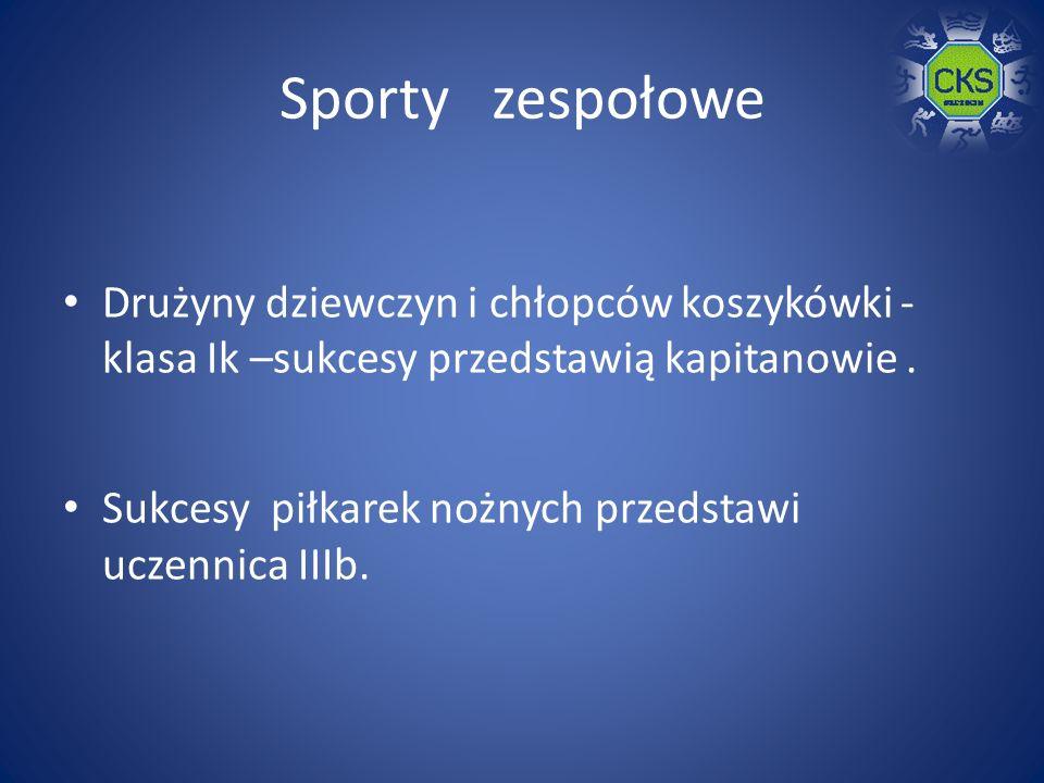 Sporty zespołowe Drużyny dziewczyn i chłopców koszykówki - klasa Ik –sukcesy przedstawią kapitanowie.