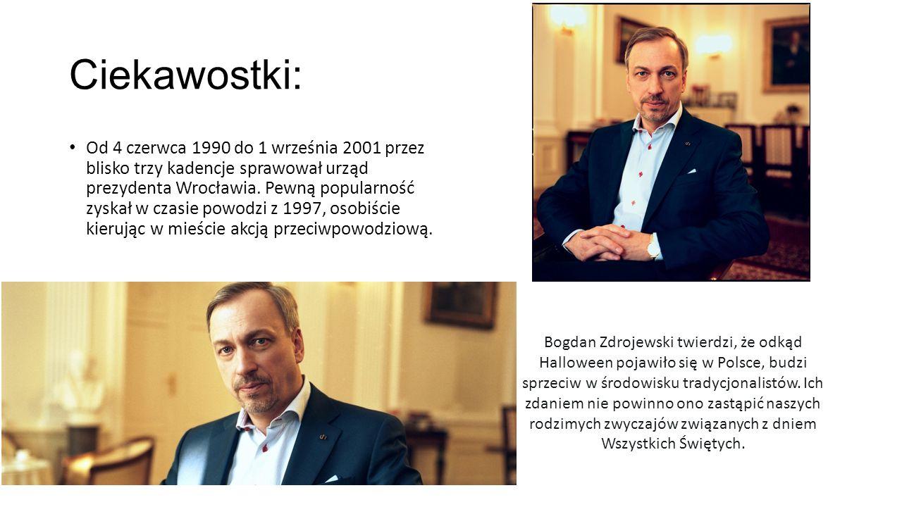 Ciekawostki: Od 4 czerwca 1990 do 1 września 2001 przez blisko trzy kadencje sprawował urząd prezydenta Wrocławia.