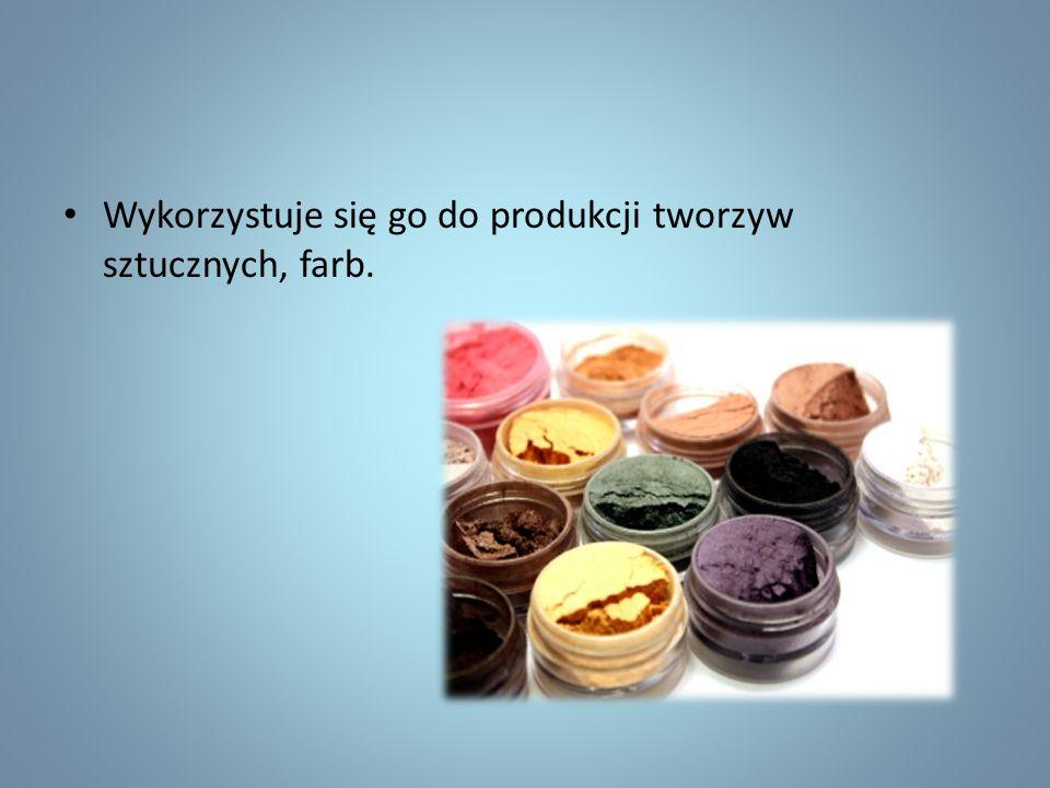 Wykorzystuje się go do produkcji tworzyw sztucznych, farb.