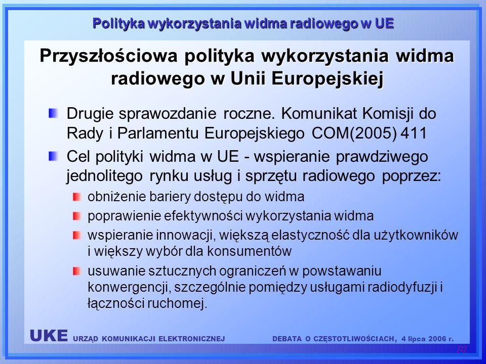 UKE URZĄD KOMUNIKACJI ELEKTRONICZNEJDEBATA O CZĘSTOTLIWOŚCIACH, 4 lipca 2006 r. [2] Polityka wykorzystania widma radiowego w UE Przyszłościowa polityk