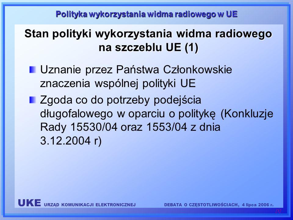 UKE URZĄD KOMUNIKACJI ELEKTRONICZNEJDEBATA O CZĘSTOTLIWOŚCIACH, 4 lipca 2006 r. [3] Polityka wykorzystania widma radiowego w UE Stan polityki wykorzys