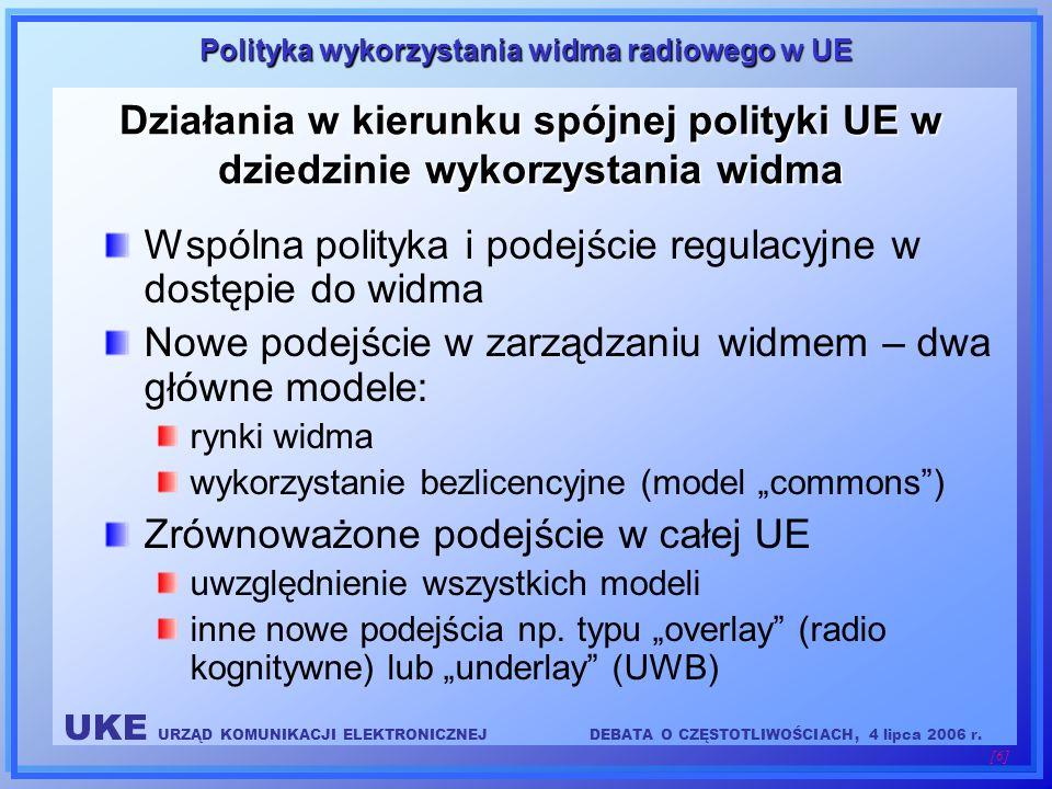 UKE URZĄD KOMUNIKACJI ELEKTRONICZNEJDEBATA O CZĘSTOTLIWOŚCIACH, 4 lipca 2006 r. [6] Polityka wykorzystania widma radiowego w UE Działania w kierunku s