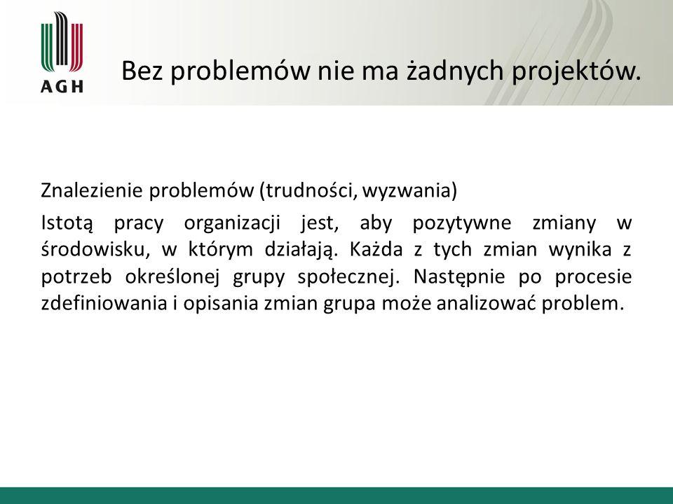 Znalezienie problemów (trudności, wyzwania) Istotą pracy organizacji jest, aby pozytywne zmiany w środowisku, w którym działają.