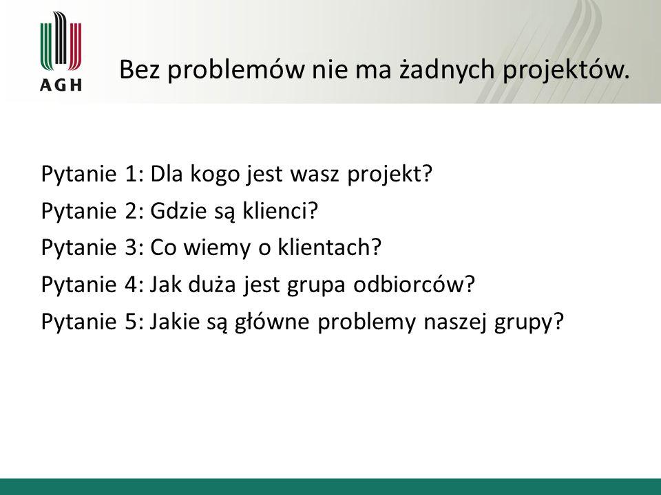 Pytanie 1: Dla kogo jest wasz projekt. Pytanie 2: Gdzie są klienci.