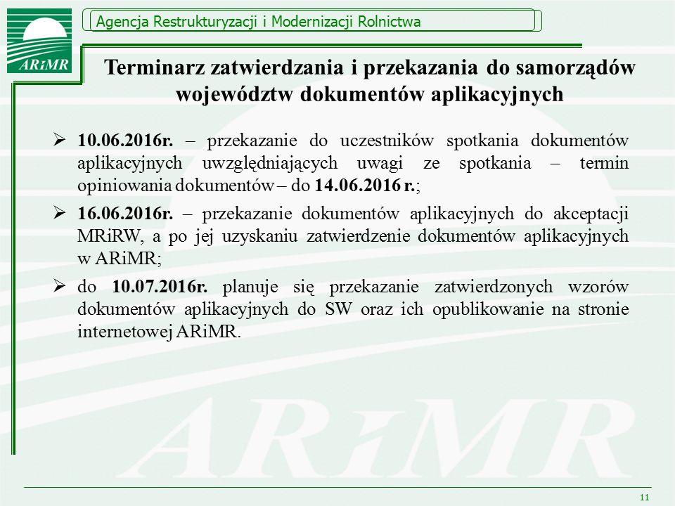 Agencja Restrukturyzacji i Modernizacji Rolnictwa 11 Terminarz zatwierdzania i przekazania do samorządów województw dokumentów aplikacyjnych  10.06.2016r.