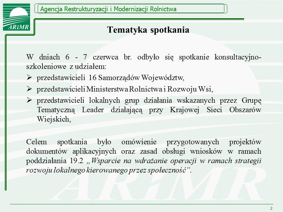 Agencja Restrukturyzacji i Modernizacji Rolnictwa Tematyka spotkania W dniach 6 - 7 czerwca br.