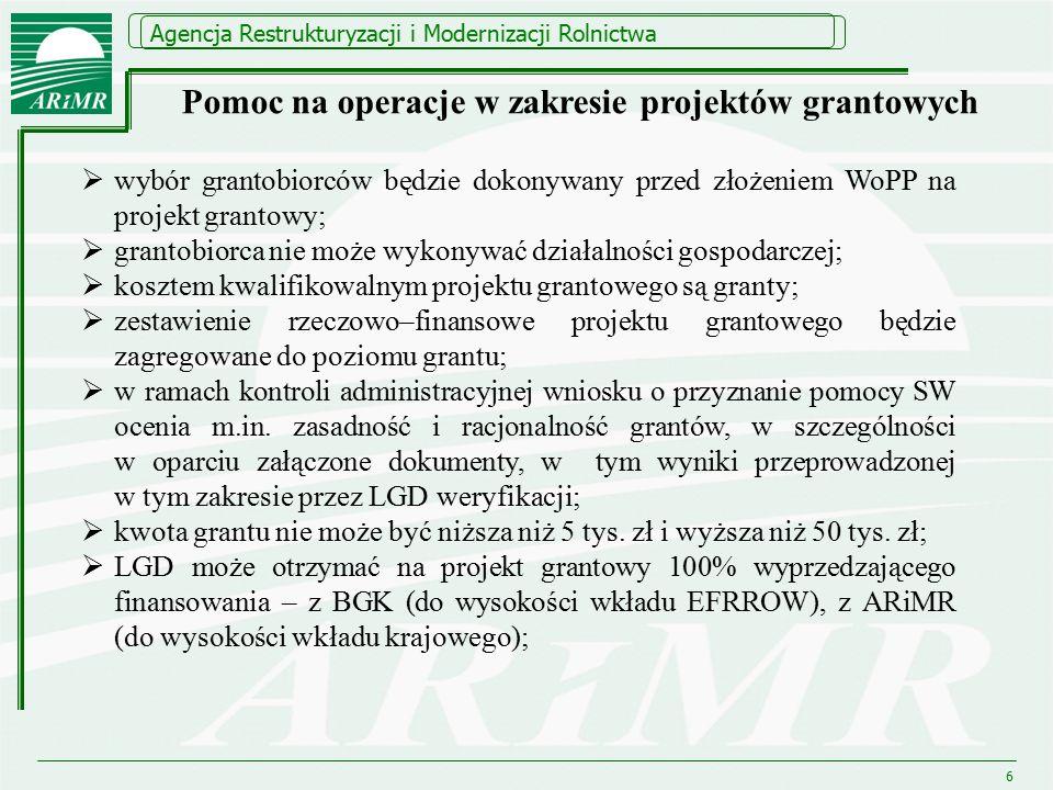 Agencja Restrukturyzacji i Modernizacji Rolnictwa 6  wybór grantobiorców będzie dokonywany przed złożeniem WoPP na projekt grantowy;  grantobiorca n