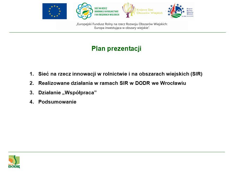 """1.Sieć na rzecz innowacji w rolnictwie i na obszarach wiejskich (SIR) 2.Realizowane działania w ramach SIR w DODR we Wrocławiu 3.Działanie """"Współpraca 4.Podsumowanie Plan prezentacji"""