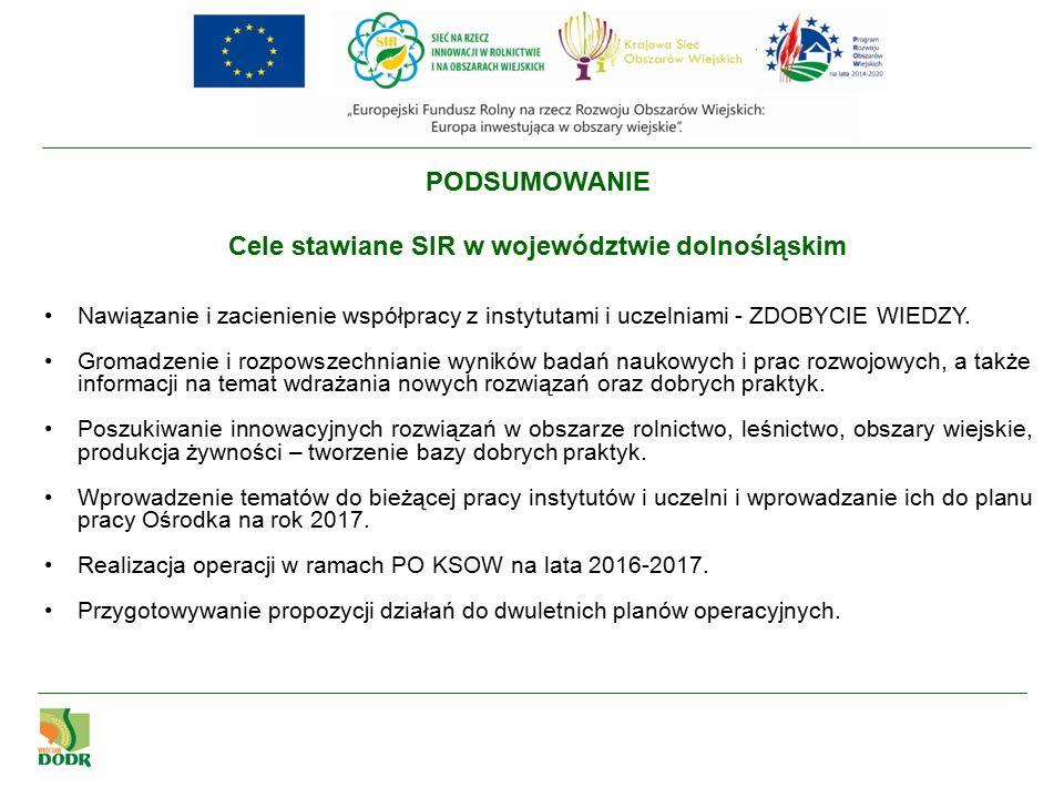 PODSUMOWANIE Cele stawiane SIR w województwie dolnośląskim Nawiązanie i zacienienie współpracy z instytutami i uczelniami - ZDOBYCIE WIEDZY.