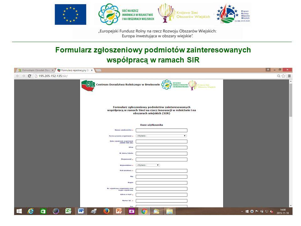 Formularz zgłoszeniowy podmiotów zainteresowanych współpracą w ramach SIR