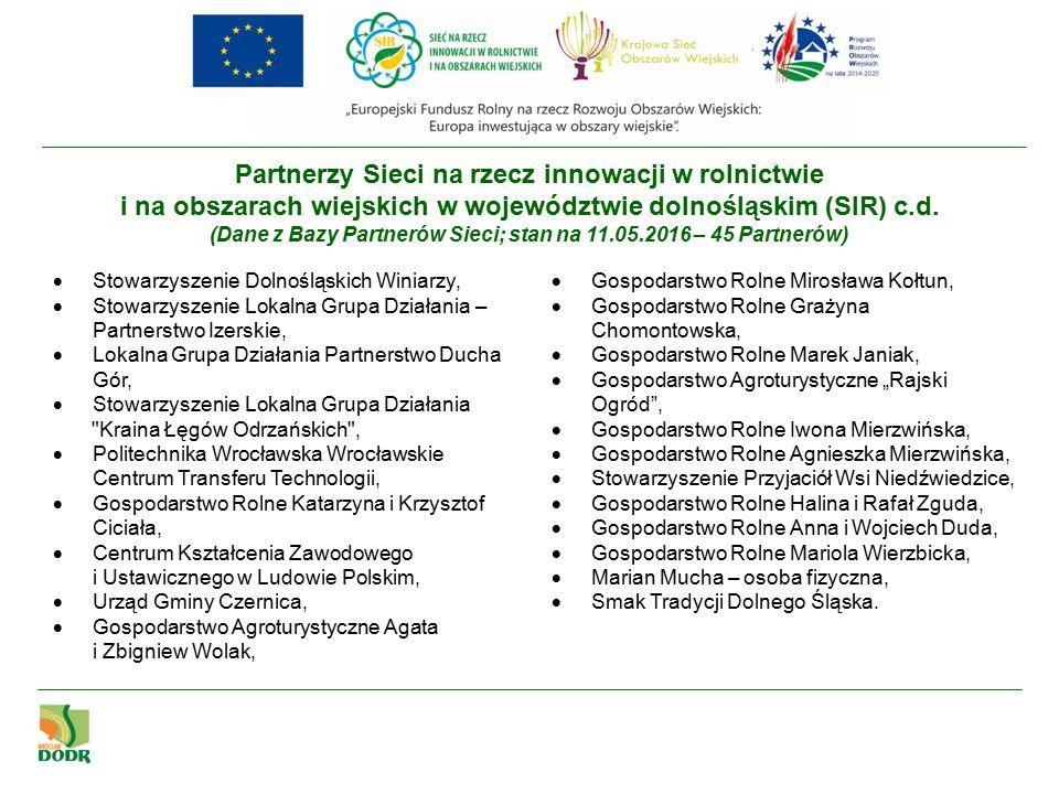 Partnerzy Sieci na rzecz innowacji w rolnictwie i na obszarach wiejskich w województwie dolnośląskim (SIR) c.d.