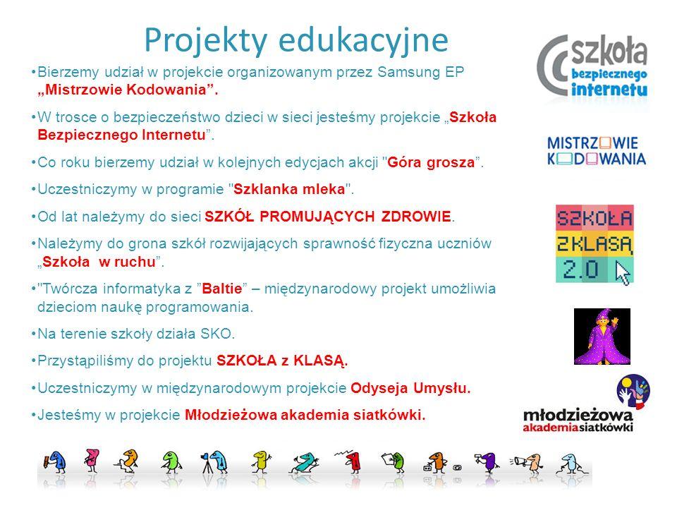 """Projekty edukacyjne Bierzemy udział w projekcie organizowanym przez Samsung EP """"Mistrzowie Kodowania"""". W trosce o bezpieczeństwo dzieci w sieci jesteś"""