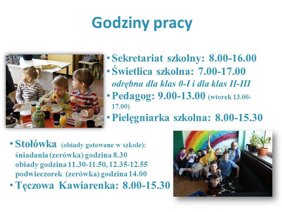 Godziny pracy Sekretariat szkolny: 8.00-16.00 Świetlica szkolna: 7.00-17.00 odrębna dla klas 0-I i dla klas II-III Pedagog: 9.00-13.00 (wtorek 13.00-
