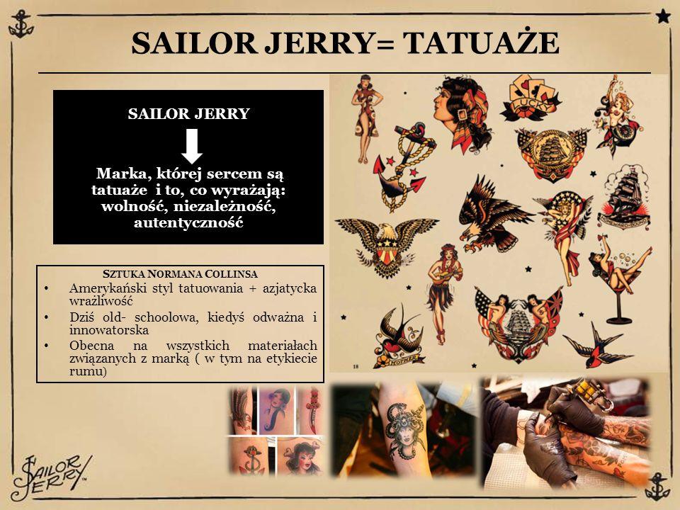 SAILOR JERRY= TATUAŻE S ZTUKA N ORMANA C OLLINSA Amerykański styl tatuowania + azjatycka wrażliwość Dziś old- schoolowa, kiedyś odważna i innowatorska Obecna na wszystkich materiałach związanych z marką ( w tym na etykiecie rumu ) SAILOR JERRY Marka, której sercem są tatuaże i to, co wyrażają: wolność, niezależność, autentyczność