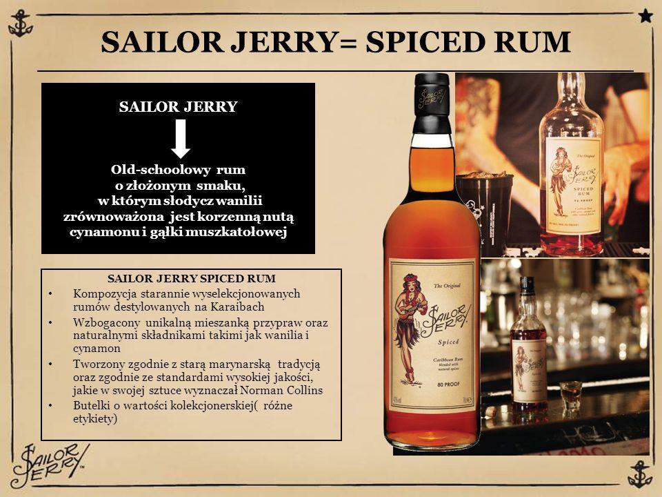 SAILOR JERRY= SPICED RUM SAILOR JERRY Old-schoolowy rum o złożonym smaku, w którym słodycz wanilii zrównoważona jest korzenną nutą cynamonu i gąłki muszkatołowej SAILOR JERRY SPICED RUM Kompozycja starannie wyselekcjonowanych rumów destylowanych na Karaibach Wzbogacony unikalną mieszanką przypraw oraz naturalnymi składnikami takimi jak wanilia i cynamon Tworzony zgodnie z starą marynarską tradycją oraz zgodnie ze standardami wysokiej jakości, jakie w swojej sztuce wyznaczał Norman Collins Butelki o wartości kolekcjonerskiej( różne etykiety)