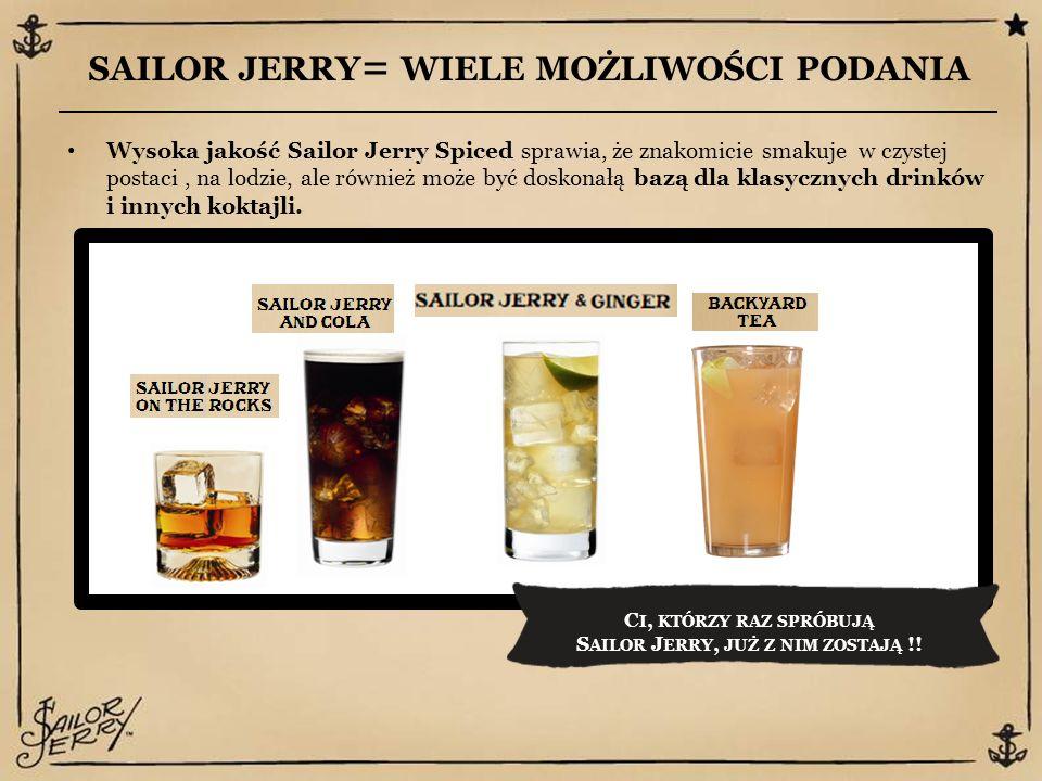 SAILOR JERRY = WIELE MOŻLIWOŚCI PODANIA Wysoka jakość Sailor Jerry Spiced sprawia, że znakomicie smakuje w czystej postaci, na lodzie, ale również może być doskonałą bazą dla klasycznych drinków i innych koktajli.