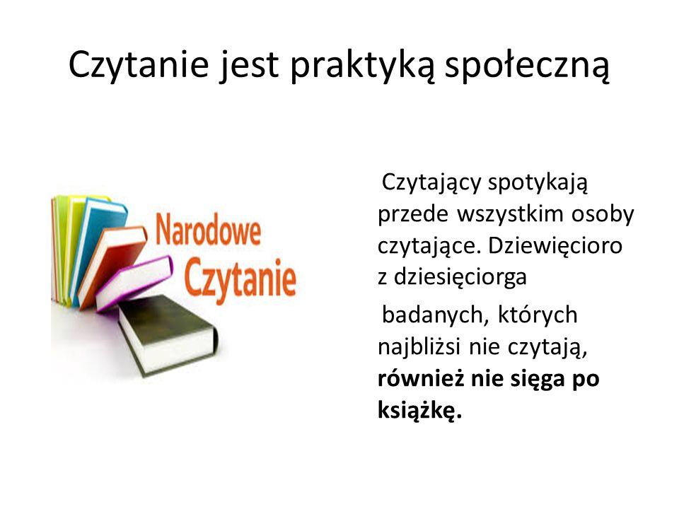 Czytanie jest praktyką społeczną Czytający spotykają przede wszystkim osoby czytające. Dziewięcioro z dziesięciorga badanych, których najbliżsi nie cz