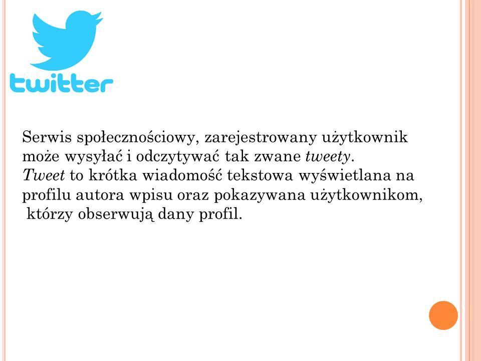 Serwis społecznościowy, zarejestrowany użytkownik może wysyłać i odczytywać tak zwane tweety. Tweet to krótka wiadomość tekstowa wyświetlana na profil