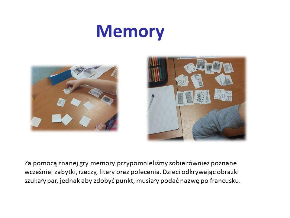Memory Za pomocą znanej gry memory przypomnieliśmy sobie również poznane wcześniej zabytki, rzeczy, litery oraz polecenia.