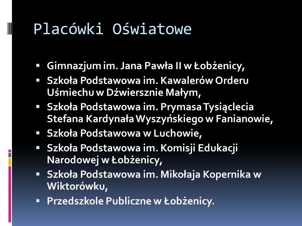 Placówki Oświatowe  Gimnazjum im. Jana Pawła II w Łobżenicy,  Szkoła Podstawowa im. Kawalerów Orderu Uśmiechu w Dźwiersznie Małym,  Szkoła Podstawo