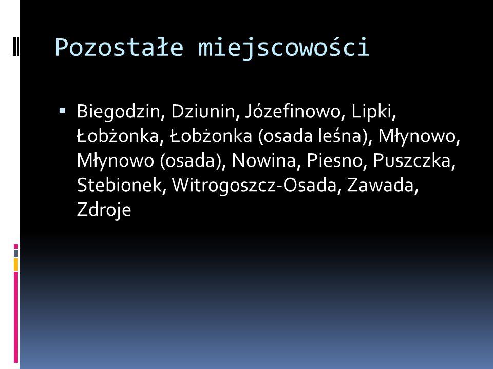 Pozostałe miejscowości  Biegodzin, Dziunin, Józefinowo, Lipki, Łobżonka, Łobżonka (osada leśna), Młynowo, Młynowo (osada), Nowina, Piesno, Puszczka,