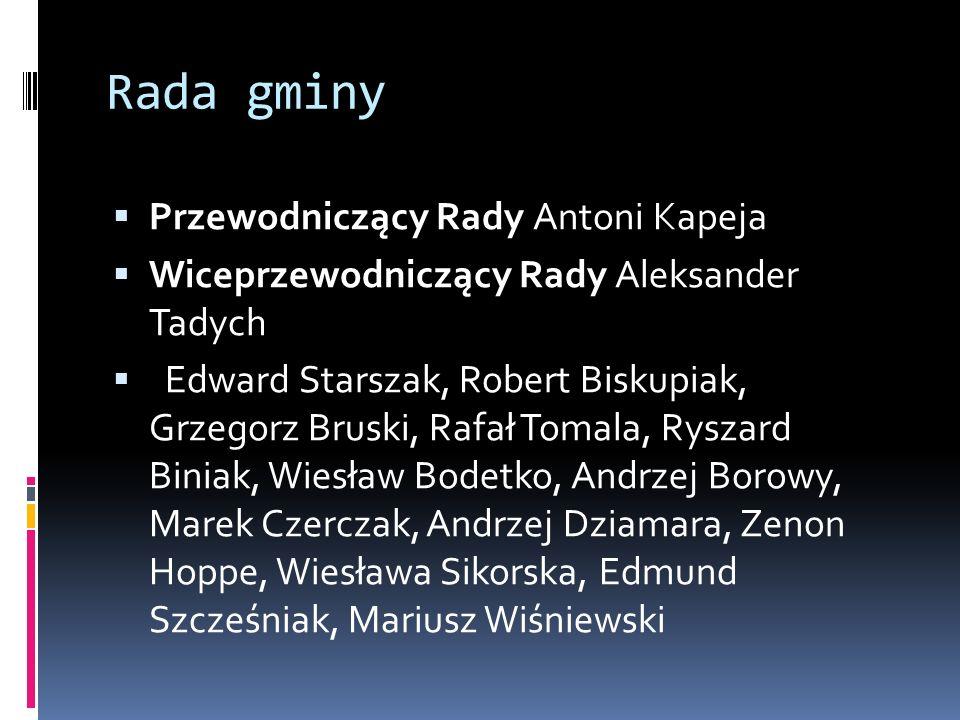 Rada gminy  Przewodniczący Rady Antoni Kapeja  Wiceprzewodniczący Rady Aleksander Tadych  Edward Starszak, Robert Biskupiak, Grzegorz Bruski, Rafał