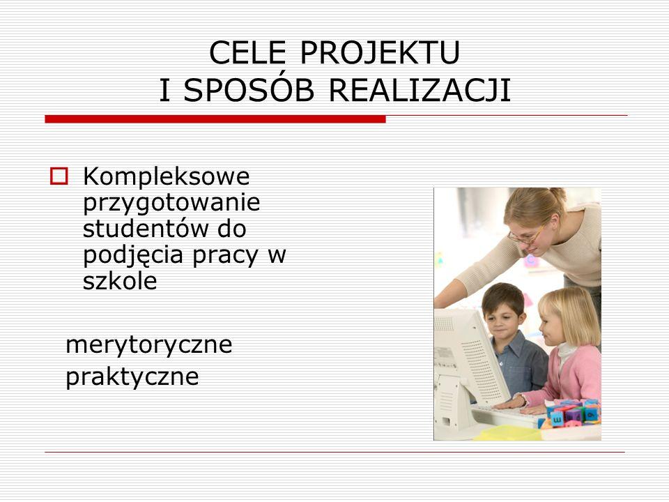 CELE PROJEKTU I SPOSÓB REALIZACJI  Kompleksowe przygotowanie studentów do podjęcia pracy w szkole merytoryczne praktyczne