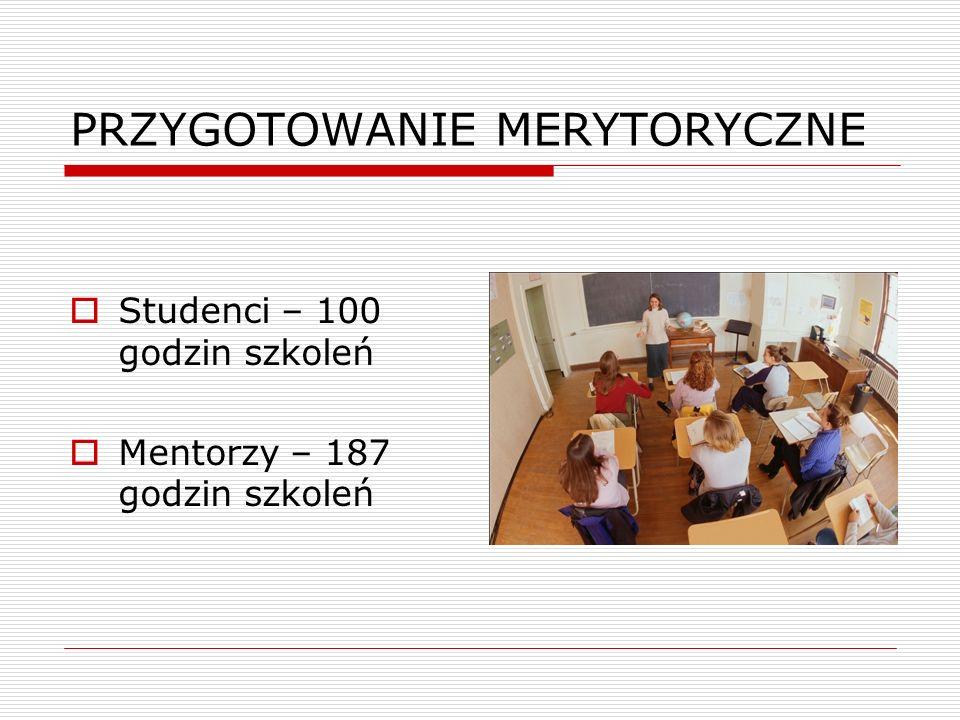 PRZYGOTOWANIE MERYTORYCZNE  Studenci – 100 godzin szkoleń  Mentorzy – 187 godzin szkoleń
