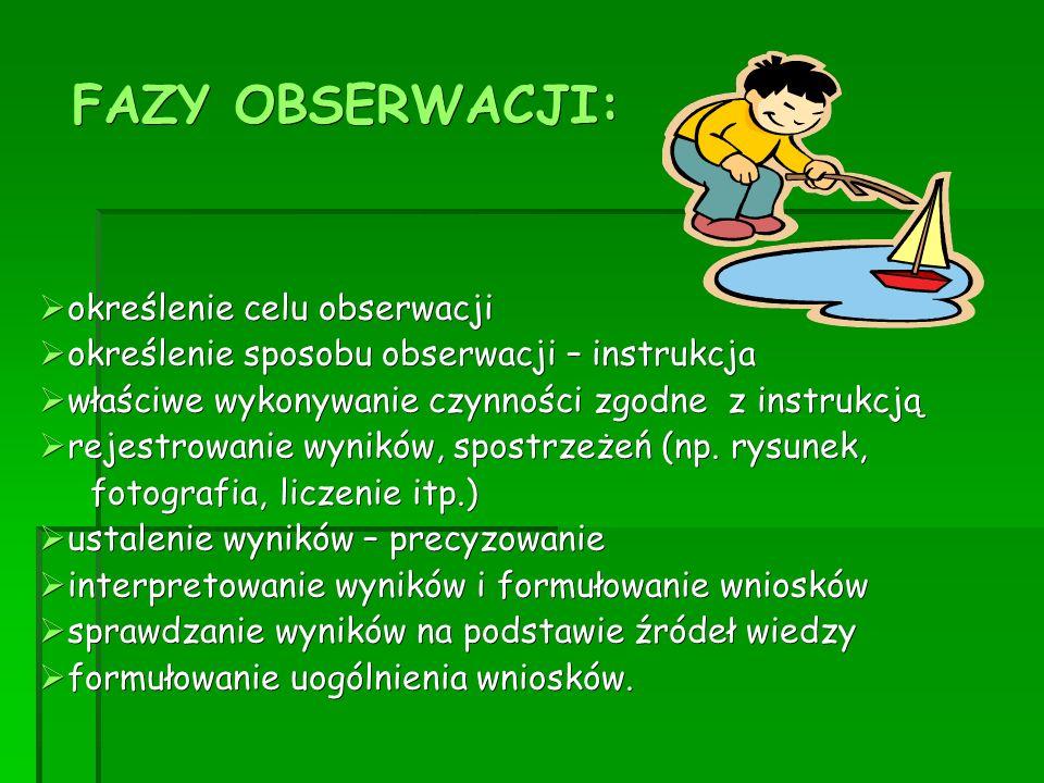 FAZY OBSERWACJI:  określenie celu obserwacji  określenie sposobu obserwacji – instrukcja  właściwe wykonywanie czynności zgodne z instrukcją  reje