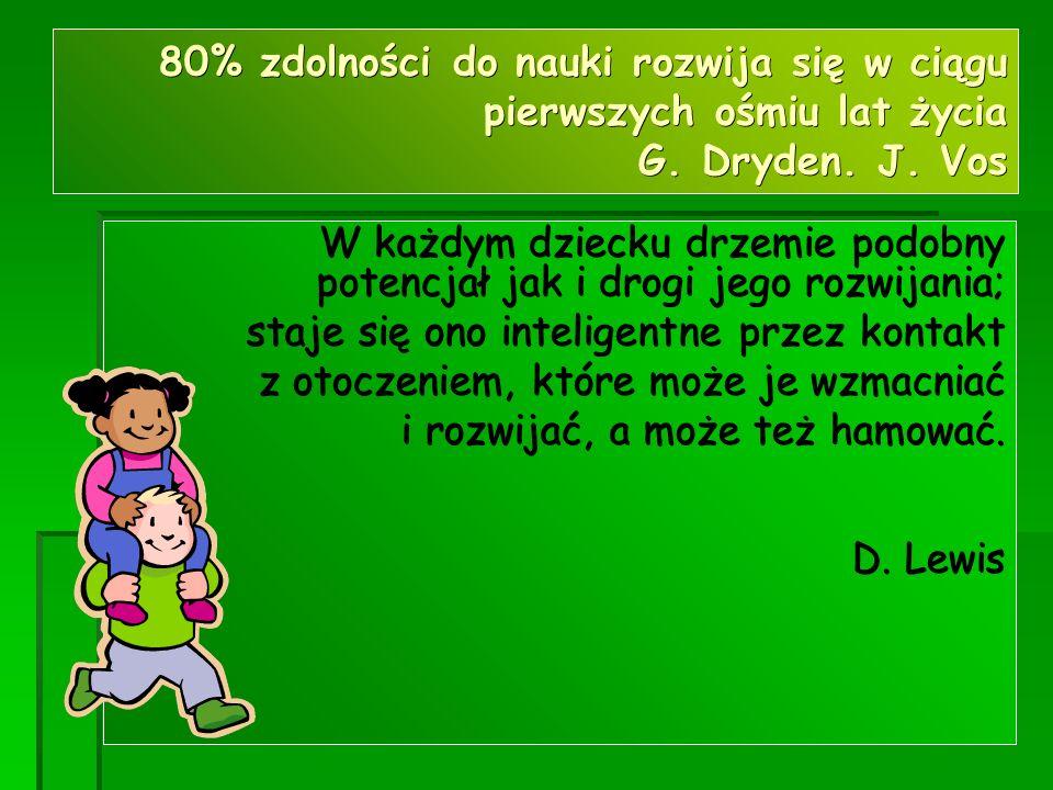 80% zdolności do nauki rozwija się w ciągu pierwszych ośmiu lat życia G. Dryden. J. Vos W każdym dziecku drzemie podobny potencjał jak i drogi jego ro