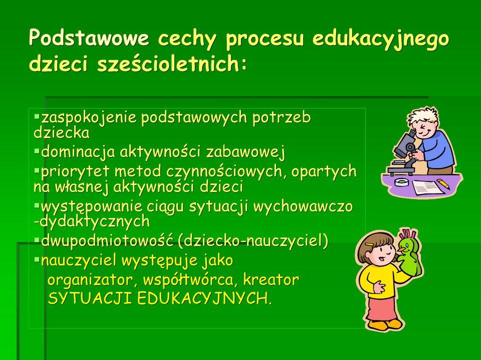 Podstawowe cechy procesu edukacyjnego dzieci sześcioletnich:  zaspokojenie podstawowych potrzeb dziecka  dominacja aktywności zabawowej  priorytet