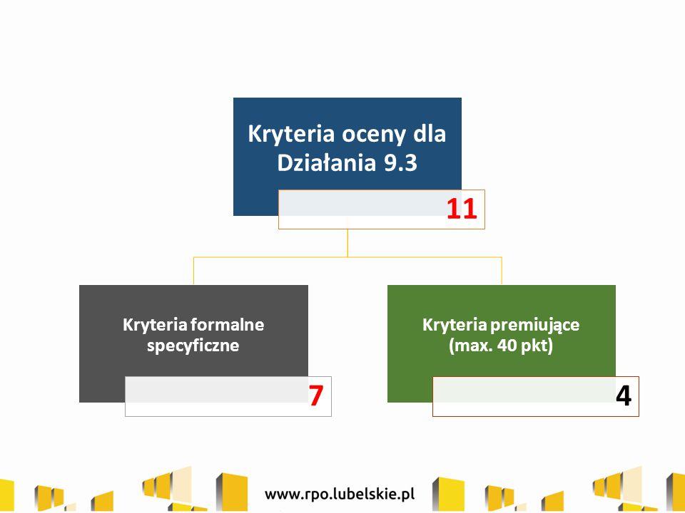 Działanie 9.3 Rozwój przedsiębiorczości I.Kryteria formalne specyficzne: 1.