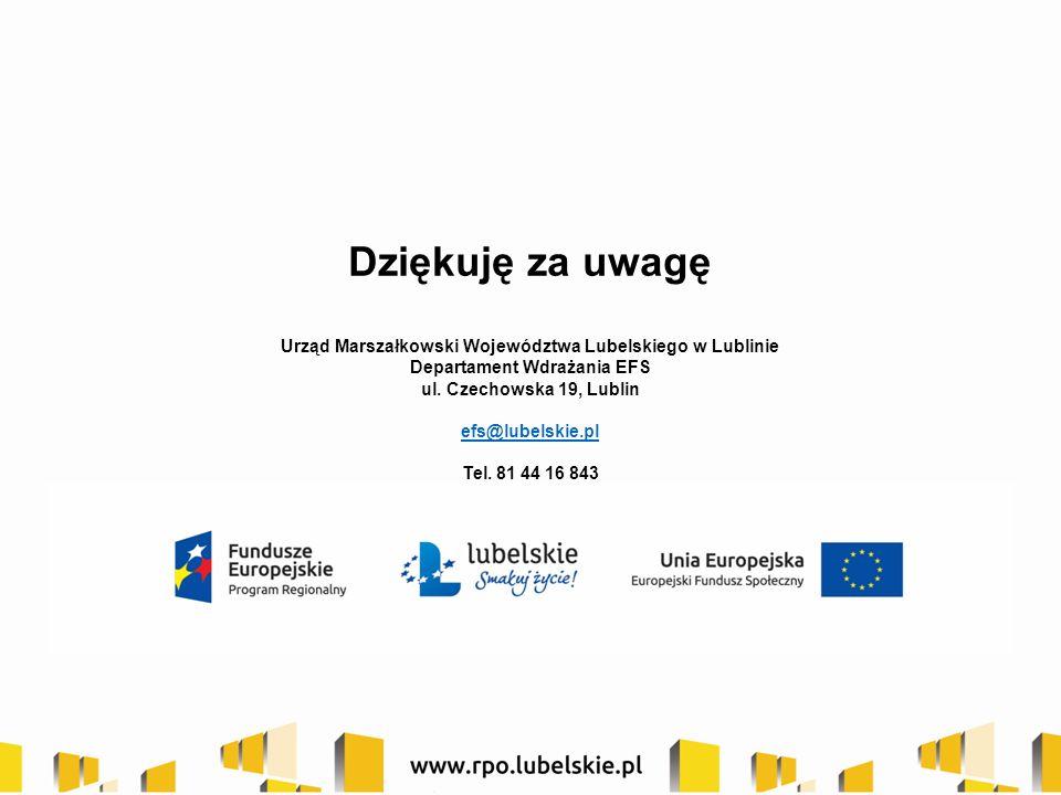 Dziękuję za uwagę Urząd Marszałkowski Województwa Lubelskiego w Lublinie Departament Wdrażania EFS ul.