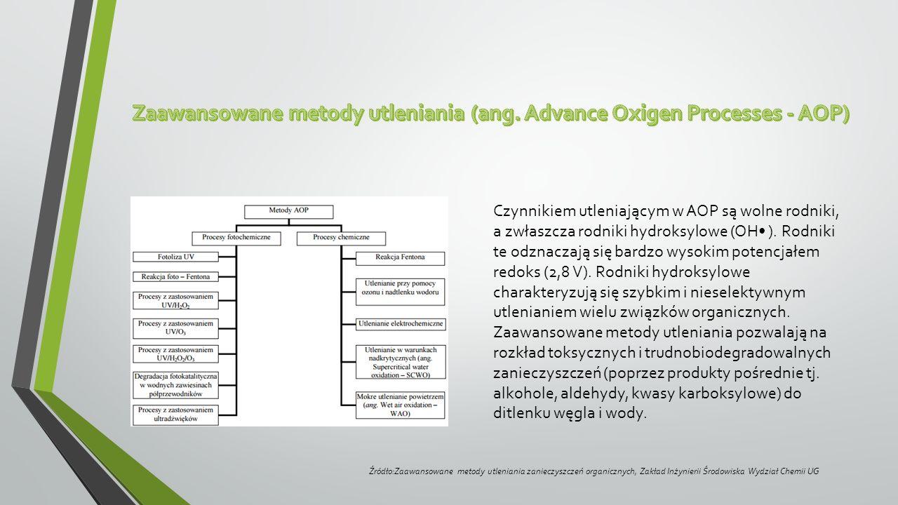 Czynnikiem utleniającym w AOP są wolne rodniki, a zwłaszcza rodniki hydroksylowe (OH ). Rodniki te odznaczają się bardzo wysokim potencjałem redoks (2