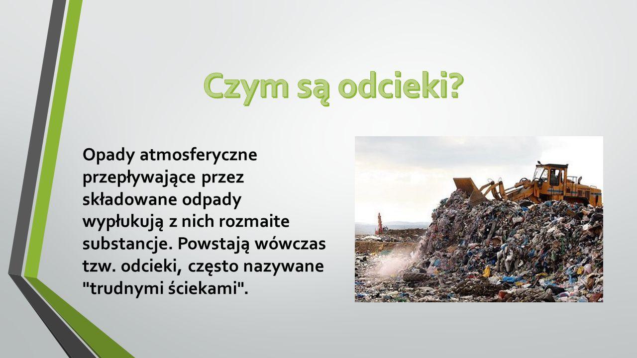 Opady atmosferyczne przepływające przez składowane odpady wypłukują z nich rozmaite substancje. Powstają wówczas tzw. odcieki, często nazywane