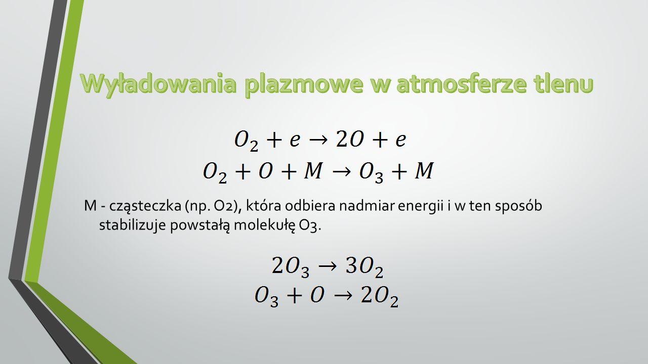 M - cząsteczka (np. O2), która odbiera nadmiar energii i w ten sposób stabilizuje powstałą molekułę O3.
