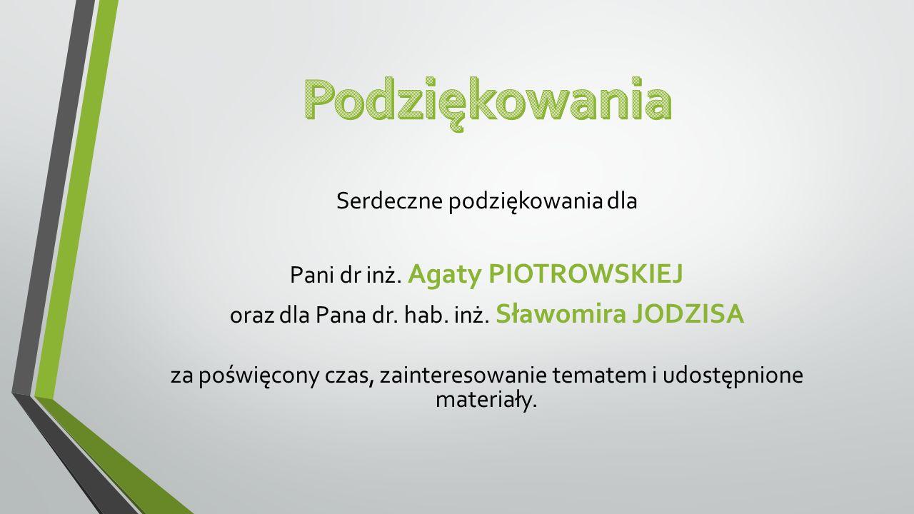 Serdeczne podziękowania dla Pani dr inż. Agaty PIOTROWSKIEJ oraz dla Pana dr. hab. inż. Sławomira JODZISA za poświęcony czas, zainteresowanie tematem