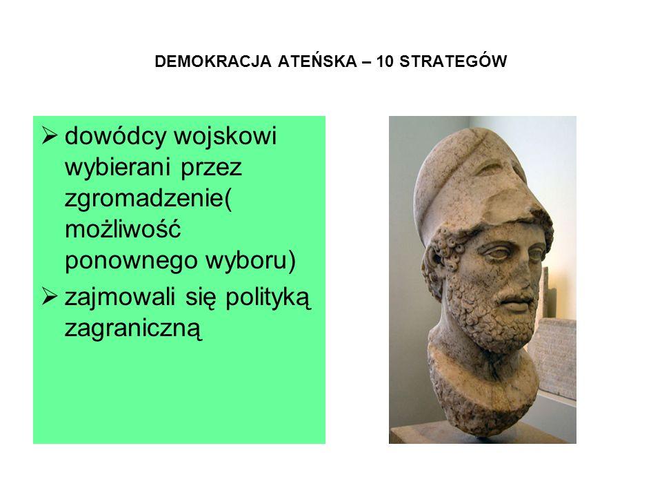 DEMOKRACJA ATEŃSKA – 10 STRATEGÓW  dowódcy wojskowi wybierani przez zgromadzenie( możliwość ponownego wyboru)  zajmowali się polityką zagraniczną