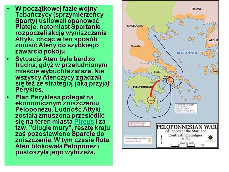 W początkowej fazie wojny Tebańczycy (sprzymierzeńcy Sparty) usiłowali opanować Plateje, natomiast Spartanie rozpoczęli akcję wyniszczania Attyki, chcąc w ten sposób zmusić Ateny do szybkiego zawarcia pokoju.