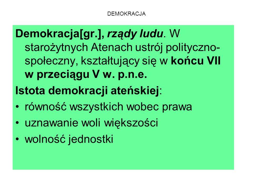 DEMOKRACJA Demokracja[gr.], rządy ludu.